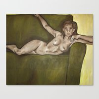 On A Couch Canvas Print
