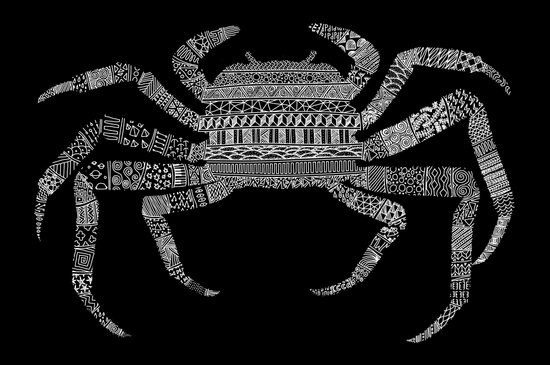 Crab (On Black) Art Print