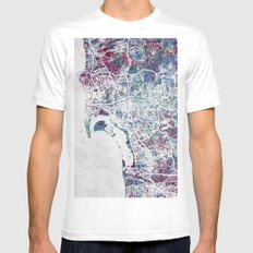 San Diego map Mens Fitted Tee White SMALL