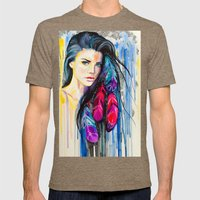 Colorful Feathers  Mens Fitted Tee Tri-Coffee SMALL