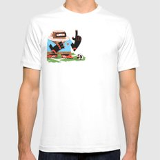 Wooden Robot Valentine White Mens Fitted Tee SMALL