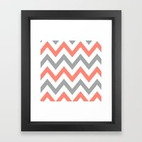 Coral & Gray Chevron Framed Art Print