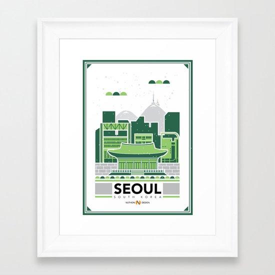 City Illustrations (Seoul, South Korea) Framed Art Print