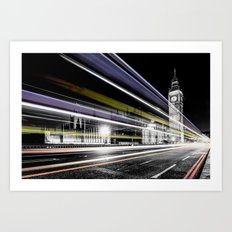 Big Ben light trails Art Print