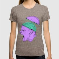 Brain Stain Womens Fitted Tee Tri-Coffee SMALL
