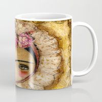Frida In A Brown And Green Tehuana Mexican Traditional Dress Mug