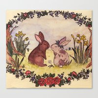 Bunnies in love Canvas Print