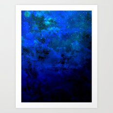 SECOND STAR TO THE RIGHT Rich Indigo Navy Blue Starry Night Sky Galaxy Clouds Fantasy Abstract Art Art Print