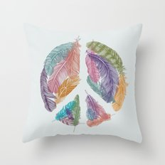 Feathers for Peace (Peace Sign) Throw Pillow