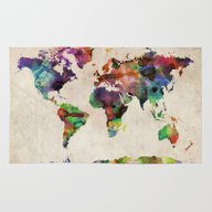 World Map Urban Watercol… Rug