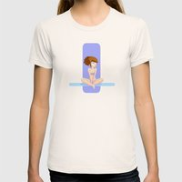 Cute blue shapes pin-up Womens Fitted Tee Natural SMALL