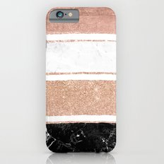 Faux rose gold glitter modern marble stripes pattern iPhone 6 Slim Case