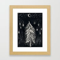 Midnight In A  Burning Forest Framed Art Print