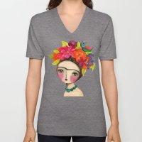 Frida And The Bird In Her Hair Unisex V-Neck