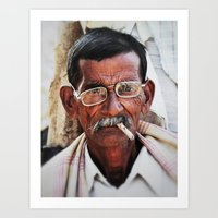 Man with Cigarette Art Print