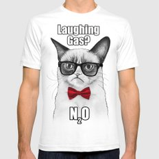 Grumpy Chemistry Cat SMALL Mens Fitted Tee White