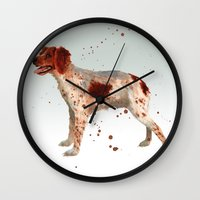 Brittany Spaniel, dog painting, Spaniel watercolor Wall Clock