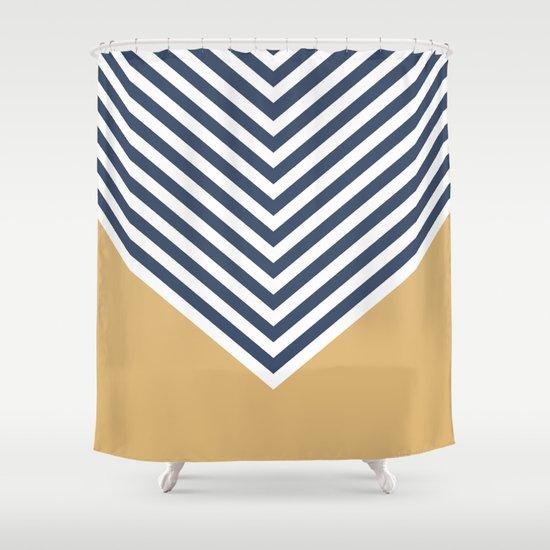 Gold Navy Chevron Shower Curtain By Zeke Tucker Society6