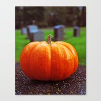 Canvas Print featuring Gravestone pumpkin by Vorona Photography
