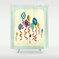 Earth Day Party Balloons Shower Curtain