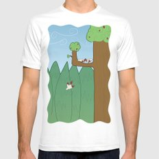 Birds and Trees Mens Fitted Tee White SMALL