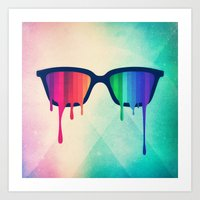 Love Wins! Rainbow - Spectrum (Pride) / Hipster Nerd Glasses Art Print