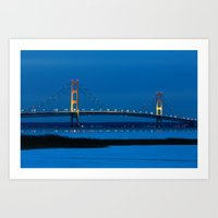 Mackinac Bridge At Blue … Art Print
