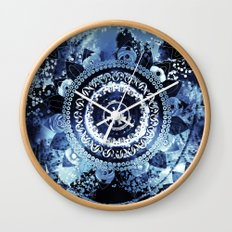 Navy Sea Mandala Wall Clock