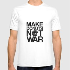 Make Donuts Not War Mens Fitted Tee SMALL White