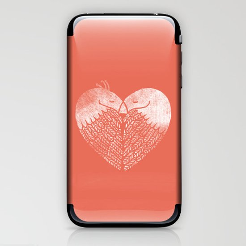 Love birds sitting on a tree iPhone & iPod Skin