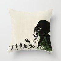 Lovecraftian Darwinism Throw Pillow