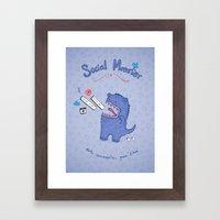 Social Monster Blue Framed Art Print
