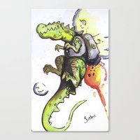Dinosaur wearing Jetpack Canvas Print