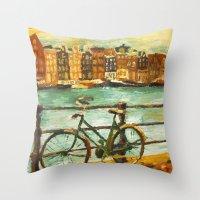 Going Dutch (yellow) Throw Pillow