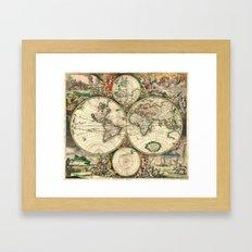 Old map of world hemispheres (enhanced) Framed Art Print