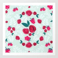 Roses & Berries Art Print