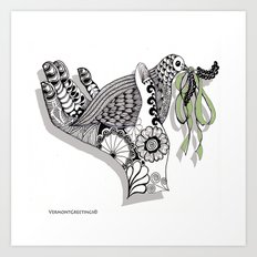 Zentangle Illustration - Peace Dove  Art Print