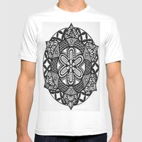 Flower Mandala Mens Fitted Tee White SMALL