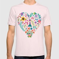Floral Heart Mens Fitted Tee Light Pink SMALL