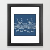 Framed Art Print featuring Swimtangle by Alice Gosling