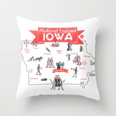 Medieval England IOWA Throw Pillow