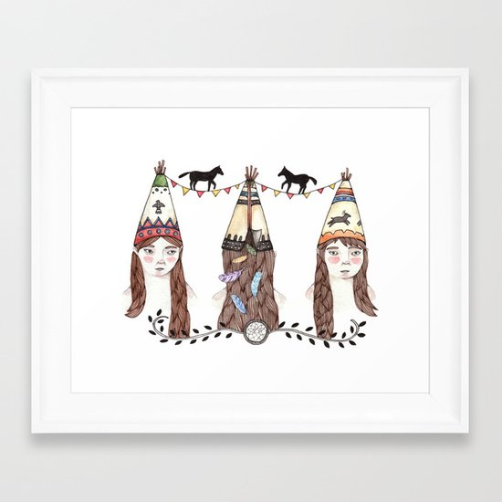 Tipi Party Framed Art Print