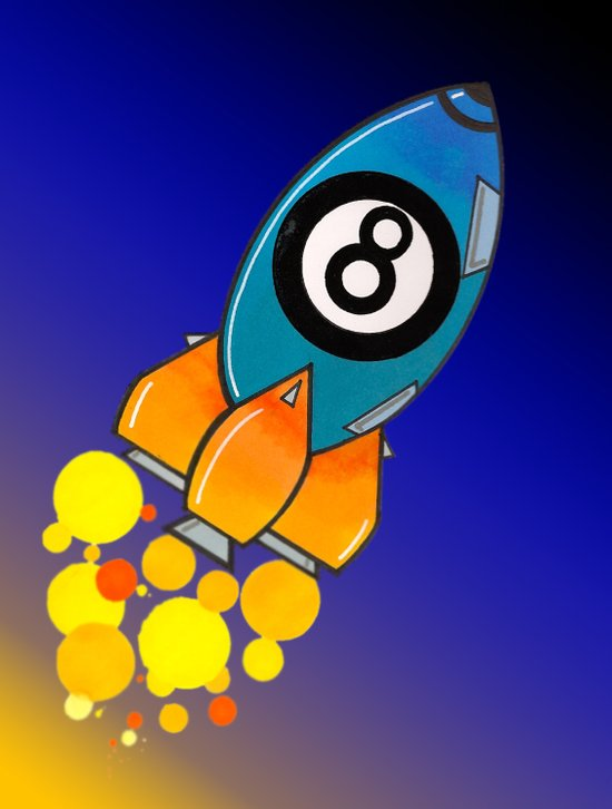 Eight Ball Rocket Art Print