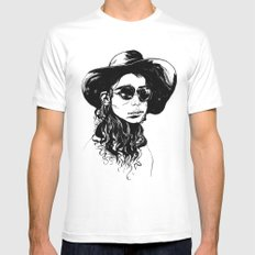 Woman in Hat and Sunglasses Mens Fitted Tee SMALL White