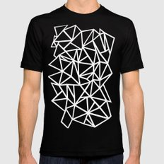Abstract Outline Thick White on Black Black Mens Fitted Tee SMALL