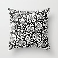 Rosaline: Black Ivory/Wh… Throw Pillow