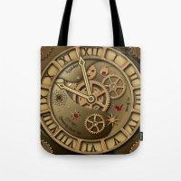 Steampunk clock gold Tote Bag