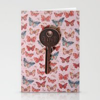 Love Key With Butterflie… Stationery Cards