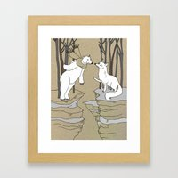Arctic Fox And Polar Bea… Framed Art Print