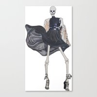skeleton in leather & fur Canvas Print